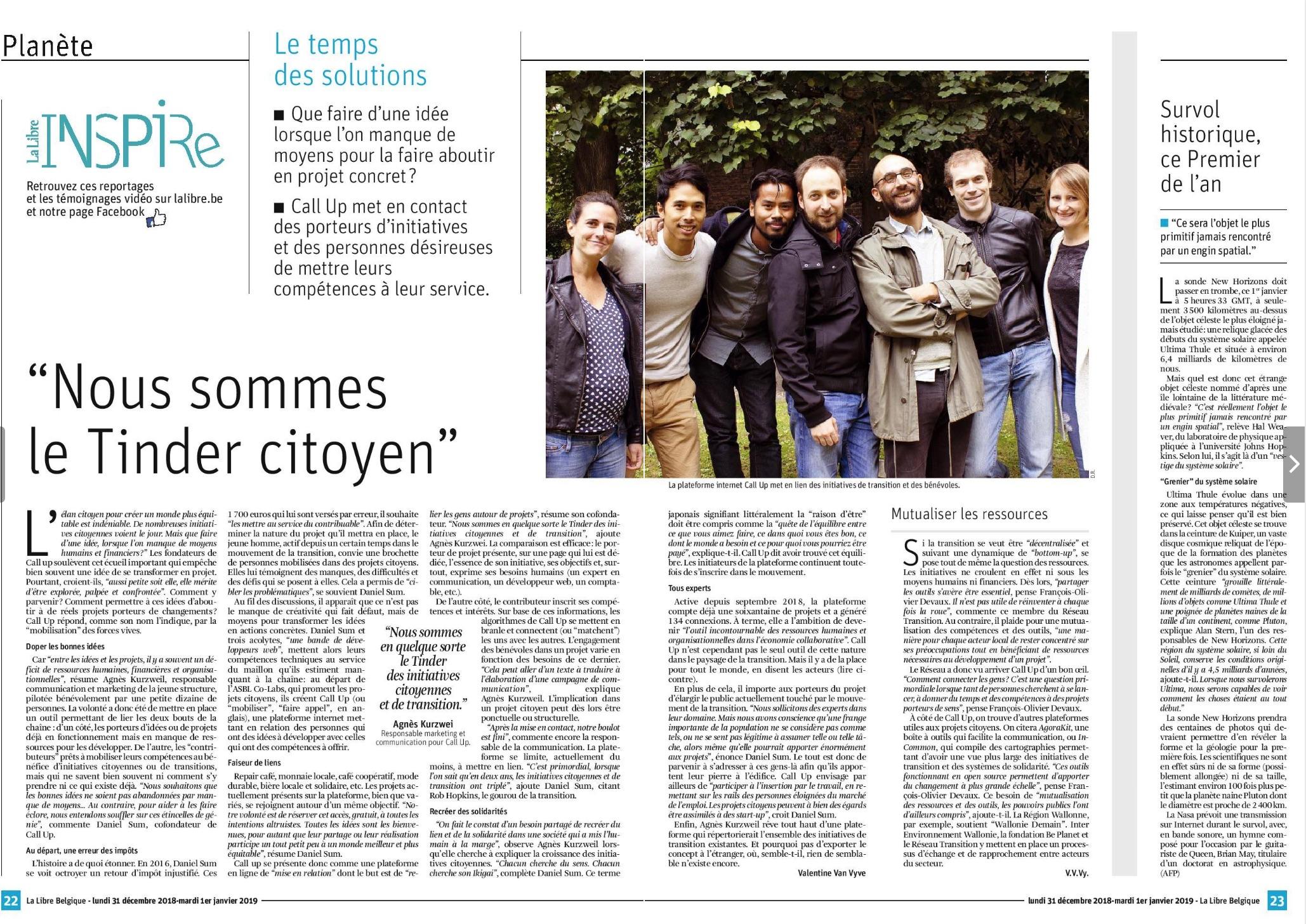 Notre ASBL dans la rubrique Inspire de la Libre Belgique