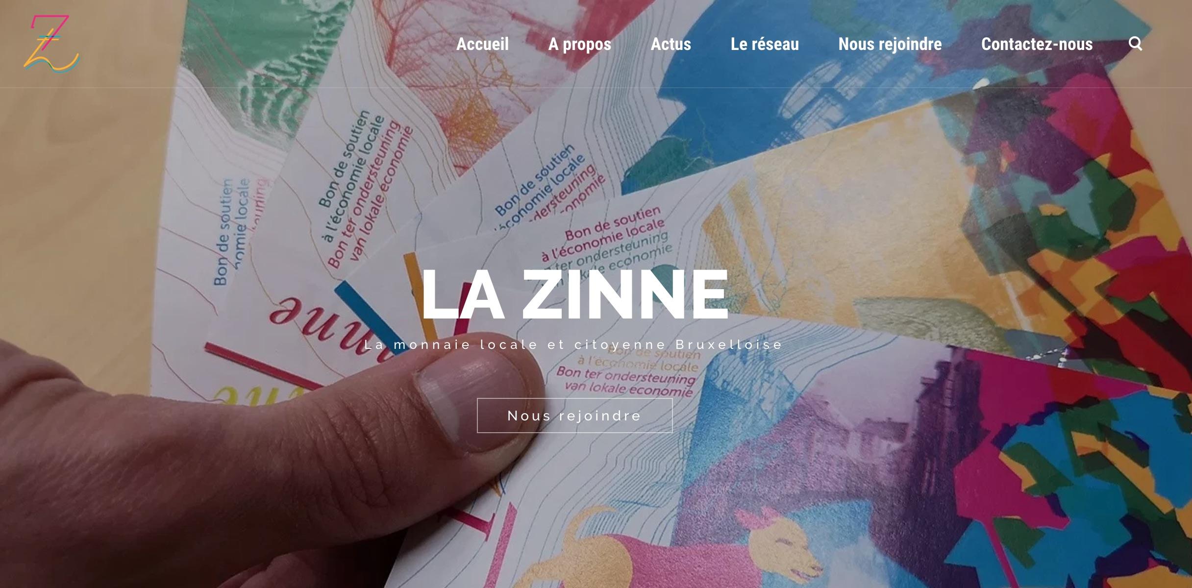 Nouveau site de la monnaie locale Bruxelloise, la Zinne !